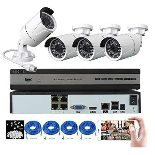Kit di videosorveglianza, 4 canali 1080P DVR e 4 telecamere di sicurezza 1080P HD, sistema di sorveglianza con visione notturna, rilevamento di movimento, distanza di trasmissione fino a 150 m