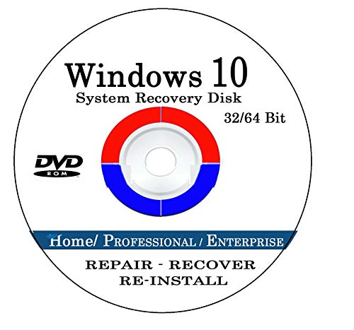 Windows 10 Repair & Recovery Disk Pro & Home 32 & 64 Bit DVD Recover Reinstall Reboot Fix ALL Computer Brands HP, Dell, Asus etc. [Instructions & Support]