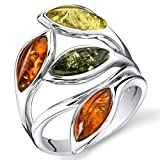 Baltic Amber Leaf Ring Sterling Silver Cherry Olive Honey Cognac Colors Size 8