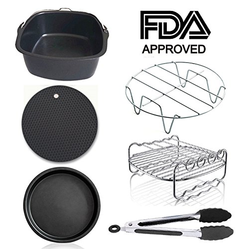 Air Fryer Accessories for Gowise Phillips Cozyna and Secura, Set of 7, Fit all Airfryer 3.7QT - 4.2QT - 5.3QT - 5.8QT (Square)