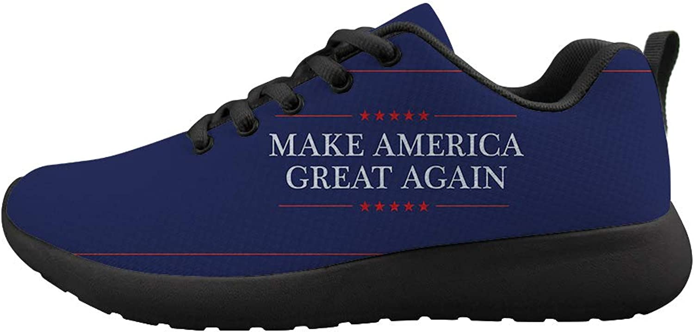 Owaheson Cushioning Sneaker Trail Running shoes Mens Womens Make America Great Again President Slogan