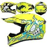 LCRAKON Casco de Moto, MJH-01 Casco de MTB Integral, Homologado Dot Niños Set de Casco de Motocross (4 Piezas) para Bicicleta de Tierra eLéctrica Todoterreno Enduro Downhill - Monstruo Amarillo