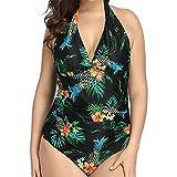 Traje de baño de Las señoras, Halter Bikini Fin Thin Plus Fat Pull Plus Size Swimwear de una Pieza Ropa de Playa Retro Ropa de baño Traje de baño Traje de baño para Mujer,B,XL