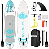 ANCHEER Tavola da Surf Stand Up Paddle 305×76×15cm SUP Board Gonfiabile con Accessori,capacità di Carico di 130 kg,3 PCS Polpa Regolabile, Pompa a Mano a Doppia,Cinghia per i Piedi,Zaino