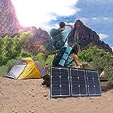 NUB Cargador Solar 60W Panel Solar Cargador Portátil Ligero Impermeable Placa Solar Power Bank Compatible con Teléfonos Samsung, iPhone, Huawei,Xiaomi,iPad, Cámara, Tablet, etc.