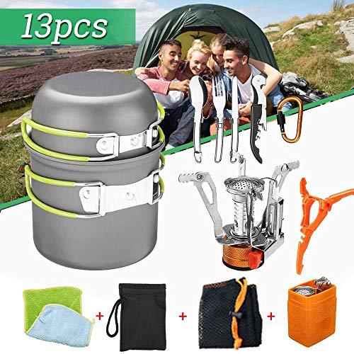 POIUCVXC 13 stks/set Outdoor Tafelgerei Camping kookgerei Wandelen Picknick Rugzak Ultralight Camping Tafelgerei Bowl Pot Pan Fornuis