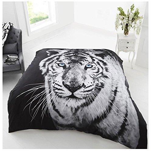 Gaveno Cavailia Super Soft Faux Fur 3D Wildlife WHITE TIGER Fleece Throw Blanket, 150 x 200 Cm, Polyester, Double, White/Black