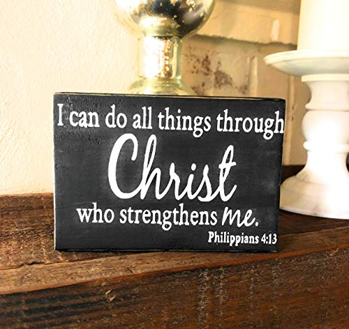 I Can Do All Things Through Christ Handmade in USA, Philippians 4:13, Primitive Box Sign, Rustic Decor (5 x 3.5 Inches)
