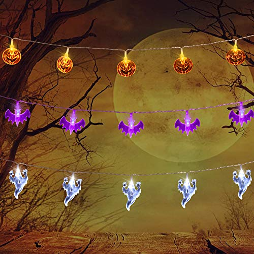 Set of 3 Halloween Lights (20 LEDs Orange Pumpkins, Purple Bats, White...