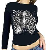 Camiseta corta Y2K para mujer de Halloween con estampado gótico, manga larga, entallada, recortada, para niña, para adultos, con estampado de esqueleto, informal, de los años 90, Negro, L