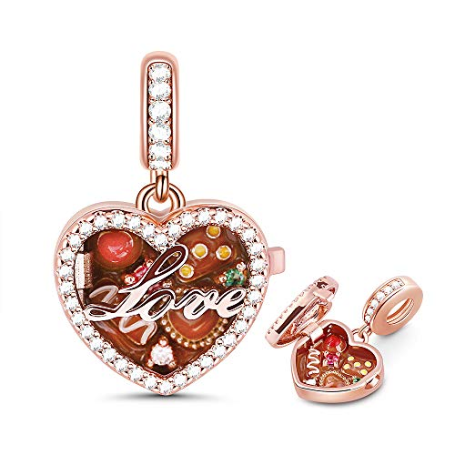 GNOCE Damen Charm Anhänger Schokolade Sterling Silber 925 18 Karat Roségold plattiert Schokolade Schachtel Charm Bead Fit Armband/Halskette für Frauen