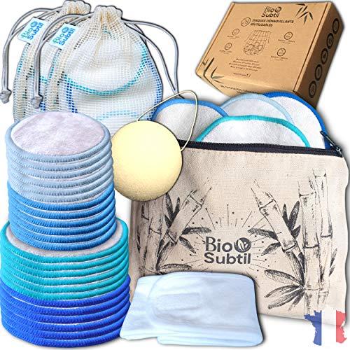 coffret (28) coton demaquillant lavable/disque reutilisable fibre de bambou triple épaisseurs(14) + lingette démaquillante velours (14) + pochette[offerte] + éponge konjac + bandeau + sac à linge