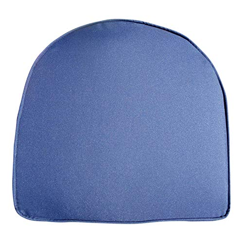 UK-Gardens Navy Blue Garden Furniture Chair Cushion Seat Pad Round Back - Ideal For Plastic Garden Chairs - Removable cover - Double Piped - Indoor or Outdoor Use