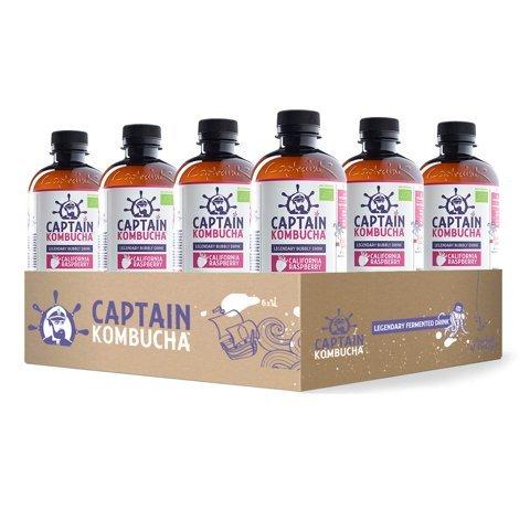 Captain Kombucha - BIO Kombucha Tee, Keine Konservanten, Unpasteurisiert, Roh und Vegan - 12 x 400ml (California Raspberry)