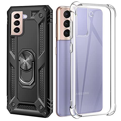 AROYI (2 Style Case Handyhülle Kompatibel mit Samsung Galaxy S21 Hülle, Military Grade 360°Ring Halter Handy Hüllen und Soft Transparent Silikon Case - Schwarz/Clear