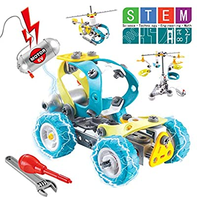 RC Cars, Remote Control Off-Road Truck All Terrains Electric Toy, 10 in 1 Soft Glue Motorized Construction Learning Toys for Adult Boys Girls Building Blocks (Multicolor, US Direct)