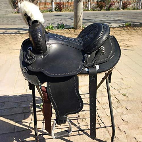 High-Grade Zadel Premium Eerste Laag Koeienhuid Zwarte Paard Van Het Zadel Zadel Westelijk Zadel Zweep Handmade Saddle Saddle Cushioning Rijcomfort