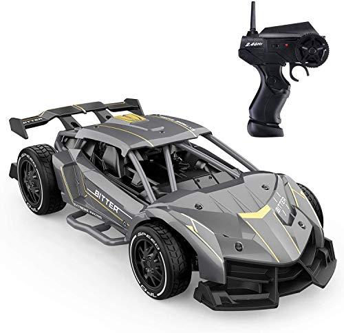 EACHINE EC05 Coche teledirigido Coche teledirigido 15 km/h, coche teledirigido para interior y exterior, 1:24 RC Racer con 2 baterías, 30 min(gris)