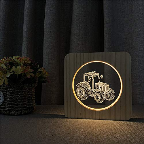 Only 1 Piece Tractor Car 3D LED Light Acrylic Wooden Bedside Table Light Switch Control Carving Light Children Room Decoration Farmer Gift