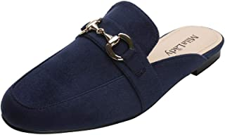 Mila Lady Womens Fashion Casual Slip On Low Heeled Mules Loafer Flat Slides Sandals Shoes