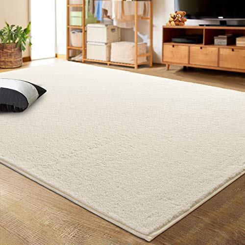 LOCHAS Luxury Faux Cashmere Shag Area Rug 3x5 Feet, Extra Soft and Comfy Carpets, Indoor Comfortable Modern Rugs for Bedroom Living Room Kids Home, White