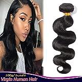 28' Brazilian Wavy Hair One Bundle Human Hair Sew in Hair Weaves Extensions Body Wave Wand Virgin Hair Weft 100g/bundle #1B Natural Black