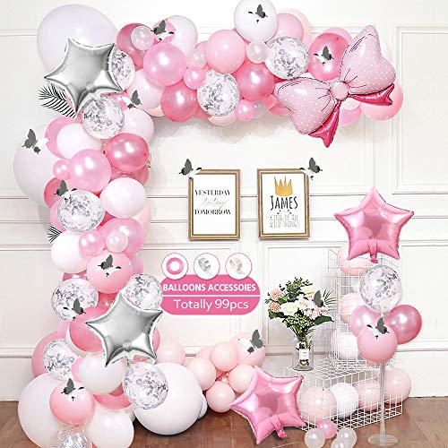 AYUQI Rosa Weiß Luftballons,99 Stück Premiumqualität Latex Luftballons,Ballons Konfetti Silber,Heliumballon Folienballon für Geburtstagsfeier Hochzeit Party und Kinder Dusche Party,Festival Dekoration