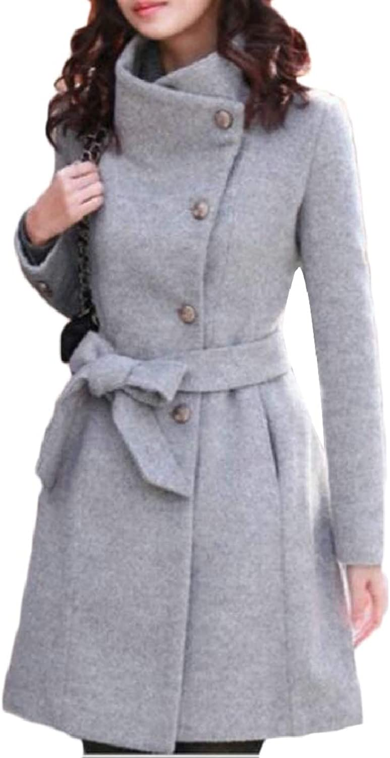 TymhgtCA Women's Belted Long Tunic Trench Winter Fall Stand Up Collar Pea Coat