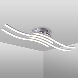 Lámpara de techo LED, Lampara techo, 4000K blanco neutro, 24W 2000 Lumen, óptica de aluminio, blanco acrílico, ondulado, luz de techo moderno para salas de estar y dormitorios (Luz Blanca Neutra)