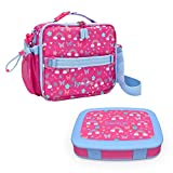 Bentgo Deluxe Insulated Lunch Bag Set With Kids Prints Lunch Box (Rainbows and Butterflies)