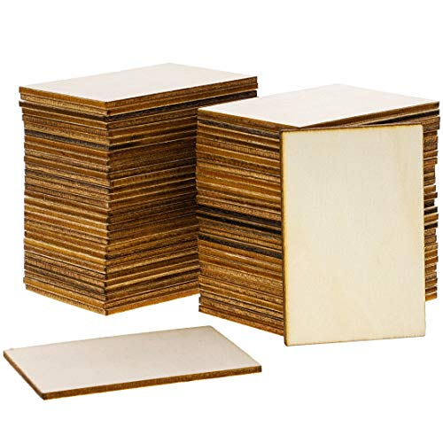 Bright Creations 60-Pack Unfinished Wood Rectangle Cutouts for DIY Crafts, 5.1 x 7.6 cm