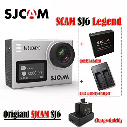 16GB TF Card+ SJCAM SJ6 Legend 2' Touch Screen Remote Action Helmet Sports DV Camera Waterproof 4K 24FPS NTK96660 RAW w/Front Screen+1pcs Extra Battery+1pcs Double Battery Charger(Sliver)