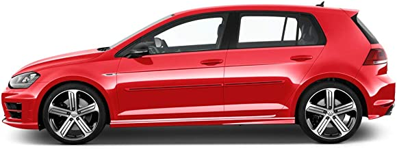 Dawn Enterprises CI-GOLF15 Color Insert Body Side Molding Compatible with Volkswagen Golf - Tungsten Silver Metallic (LB7W) with Brite RED Insert (20)