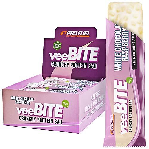 Proteinriegel vegan - veeBITE Crunchy Proteinriegel - Unglaublich lecker - Weisse Schokolade + Himbeere Geschmack - 20 Gramm Eiweiß pro Riegel - nur 238 kcal - laktosefrei & glutenfrei - 12x60g