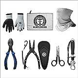 Black Anchor Fishing Accessory Kit   6.7' Aluminum Plier, Stainless Lip Gripper, Buff Face Shield, Wire Cutter, Split Ring Braid Scissor, Rubber Dip Gloves, Microfiber Towel
