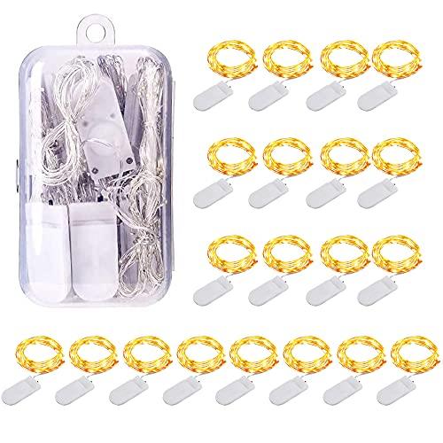 Cadena de Luces 20PCS 1M 10 LEDs Cable de Cobre Impermeable Tira Hadas Luces con Alimentado Batería para Decoración de Hogar Juego Boda Navidad y Otras...