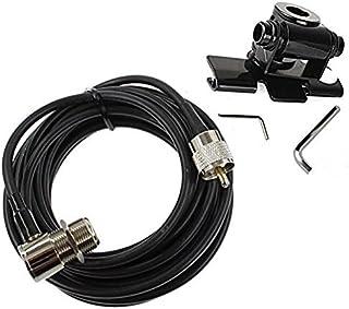 Buwico® Auto Antennenhalterung aus Edelstahl, Halterung für Zwei Wege Radioantenne, zur Befestigung an Heckklappe/Fließheck, inkl. 5m Kabel