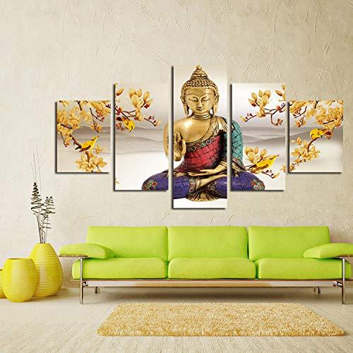 Zhouyiz Portrait kunst canvas muurkunst portretfoto 5 panelen hangmat schilderij modern woonkamer decoratie zonder lijst