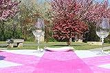 AmaCasa Vlies Tischband Tischläufer Flower Vlies Hochzeit Kommunion 15cm/20m Rolle (Pink, 15cm) - 6