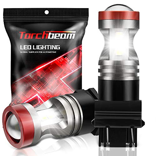 Torchbeam 3600 Lumens 3157 LED Light Bulb with Projector Error-free 3156 3057 3056 4157 Reverse Back Up Lights DRL Tail Brake Lights 6500K Xenon White(Pack of 2)