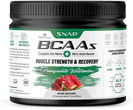Snap BCAA Powder Essential Amino Energy Supplement with Nitric Oxide Booster Pomegranate Flavor product image