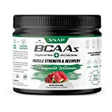 Snap Supplements BCAA Powder with Nitric Oxide Booster - Pomegranate Watermelon Essential Amino Acids - Muscle Strength & Recovery Post Workout Drink for Men & Women - 30 Servings