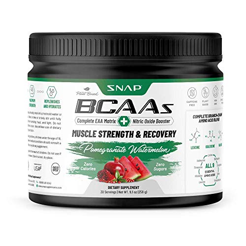 Snap Supplements BCAA Powder with Nitric Oxide Booster - Peach Mango Essential Amino Acids - Muscle Strength & Recovery Post Workout Drink for Men & Women - 30 Servings (Watermelon)