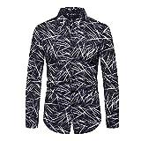 LSDJGDDE Camisas de seda para hombre de rayas para hombre, camisas de manga larga, camisas de vestir informales de corte entallado (color: negro, tamaño: código L)