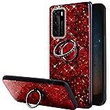 URFEDA Glitter Brillante Cover Compatibile con Huawei P40 Lite, Custodia con Anello Ring S...