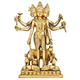 Brass Statue Hindu Idol Trimurti Brahma Vishnu Mahesh Figurine H:12 Inch,Wt:4.5 Kg