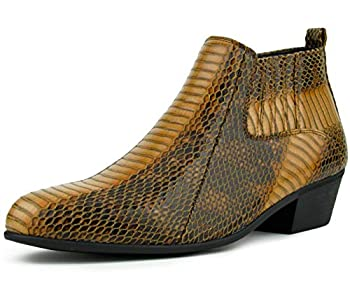 Bolano Adder Boots for Men - Mens Dress Boots - Mens Fashion Boots - Mens Ankle Boots - Realistic Snake Print Easy Zipper Slip On Boots Color Cognac Size 11