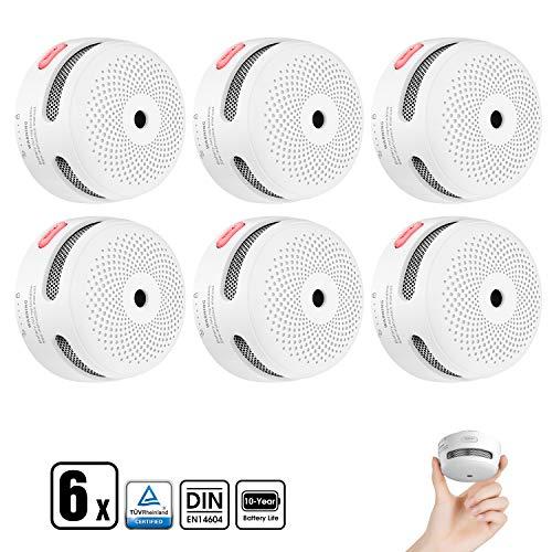X-Sense Rauchmelder Mini Feuermelder mit 10 Jahren Batterielaufzeit, TÜV nach EN14604 Zertifizierter Brandmelder, Feueralarm mit Fotoelektrischem Sensor, XS01 (6er Set)