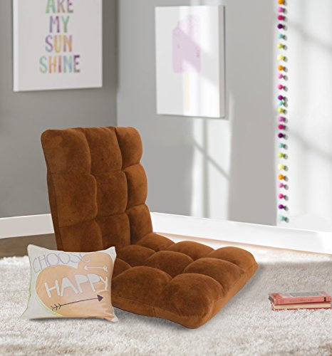 Chic Home RC64-26BN-N1-WT Lounge Adjustable Recliner Rocker Memory Foam Armless Floor Gaming Ergonomic Chair, Brown
