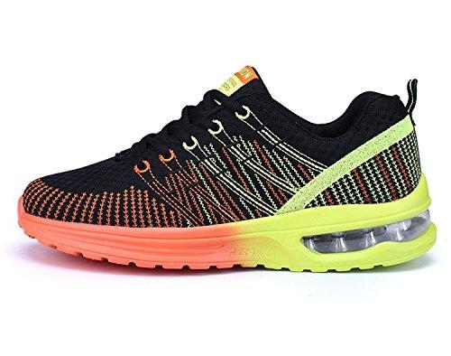 NEOKER Zapatos de Running Para Hombre Zapatillas Deportivo Outdoor Calzado Asfalto Sneakers Negro Naranja 40